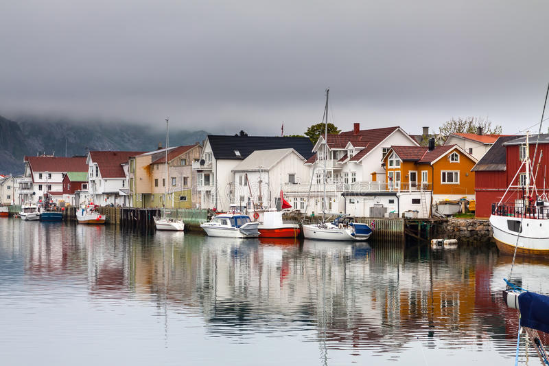 Fishing village Henningsvaer in lofoten, norway stock photos