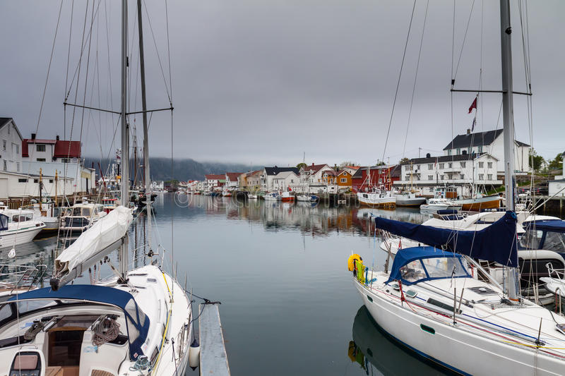 Fishing village Henningsvaer in lofoten, norway stock photo