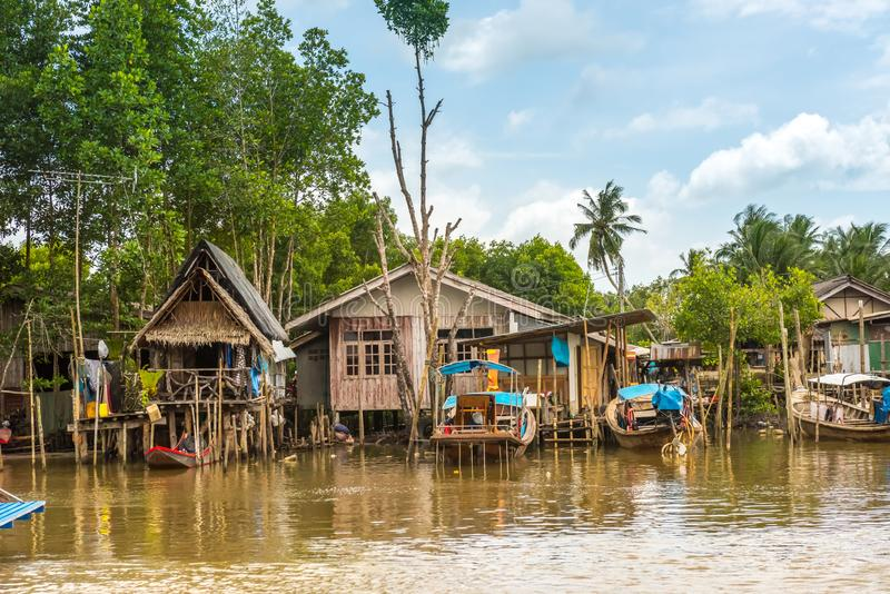 Fishing village in Krabi Province, Thailand stock image