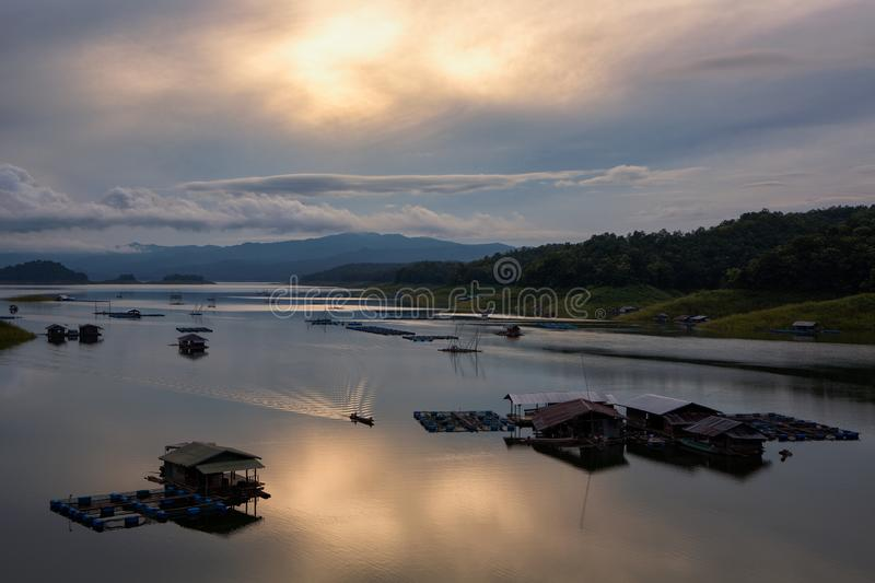 Fishing village in Lam Nam Nan National Park, Nan province, Thai. Fishing village in Lam Nam Nan National Park, River of Queen Sirikit Dam in Uttaradit Province royalty free stock photography