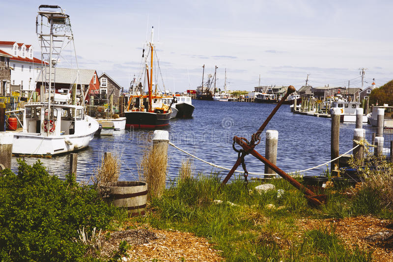 Fishing village in Massachusetts stock image