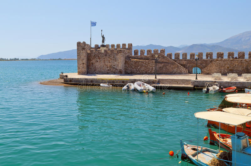 Fishing village of Nafpaktos in Greece. Scenic fishing village of Nafpaktos located in Greece royalty free stock photography