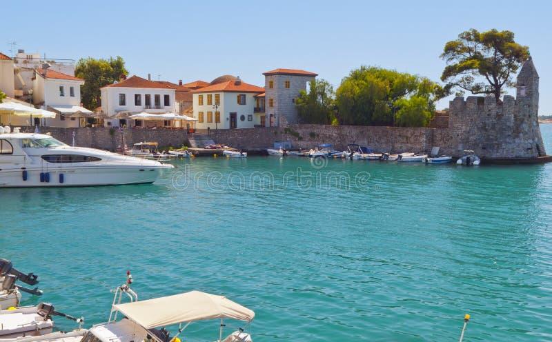 Fishing village of Nafpaktos in Greece. Scenic fishing village of Nafpaktos located in Greece stock photos