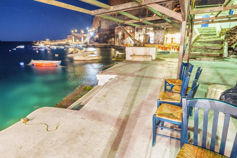 Fishing Village in Santorini at night, Greece stock photos