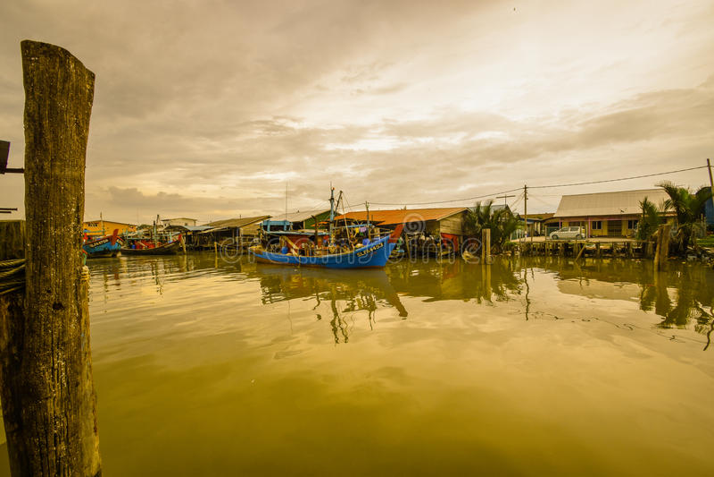 Fishing Village, Sekincha, Selangor Malaysia. Sekinchan is a small town located in Sabak Bernam, Selangor, Malaysia. It is located along the coastal Federal royalty free stock photo