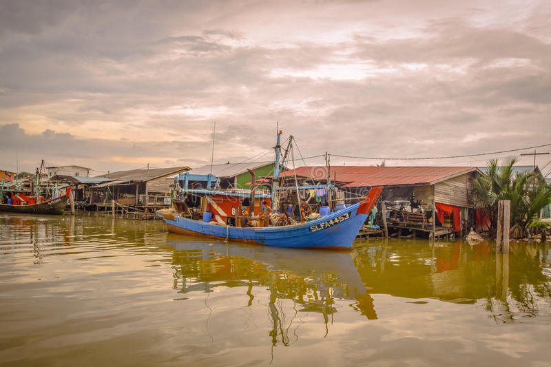 Fishing Village, Sekincha, Selangor Malaysia. Sekinchan is a small town located in Sabak Bernam, Selangor, Malaysia. It is located along the coastal Federal royalty free stock photography