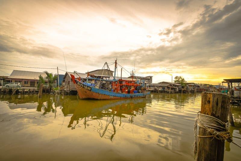 Fishing Village, Sekincha, Selangor Malaysia. Sekinchan is a small town located in Sabak Bernam, Selangor, Malaysia. It is located along the coastal Federal stock image