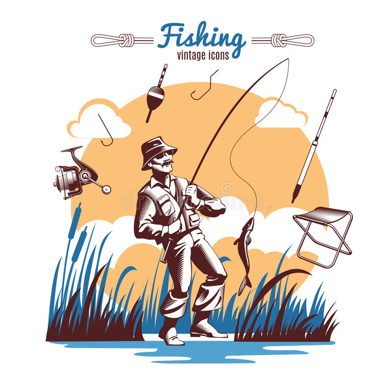 Fishing Vintage Icons Composition vector illustration