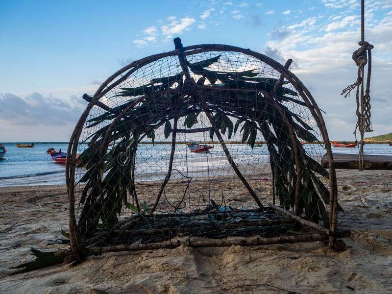 Fishing wicker trap. Thailand. Fishing wicker trap. Koh Phangan. Thailand royalty free stock photography