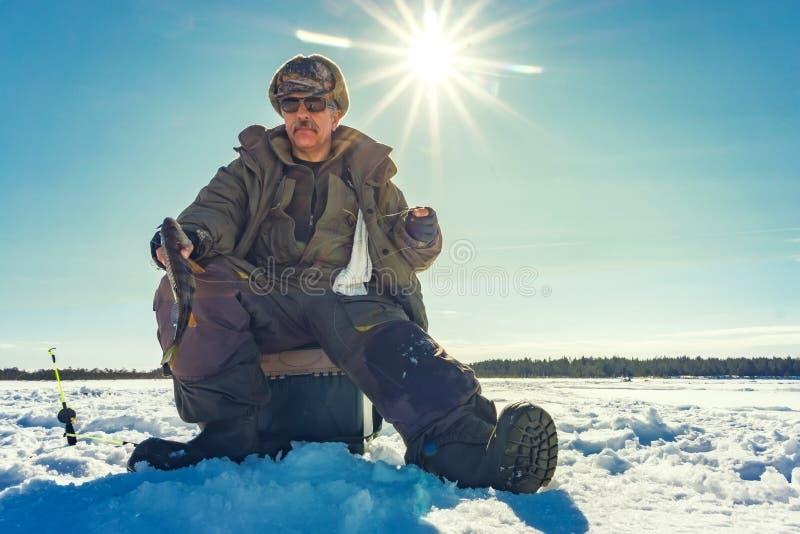 Fishing winter bass winter sport, winter hobby stock image