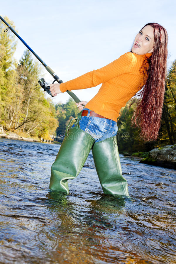 Download Fishing woman stock image. Image of emotion, outdoors - 22864307