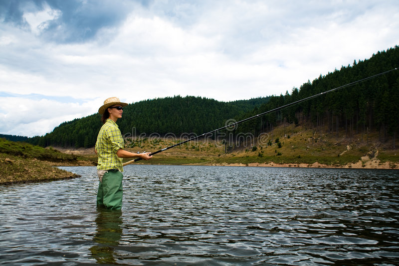 Fishing for woman stock photography