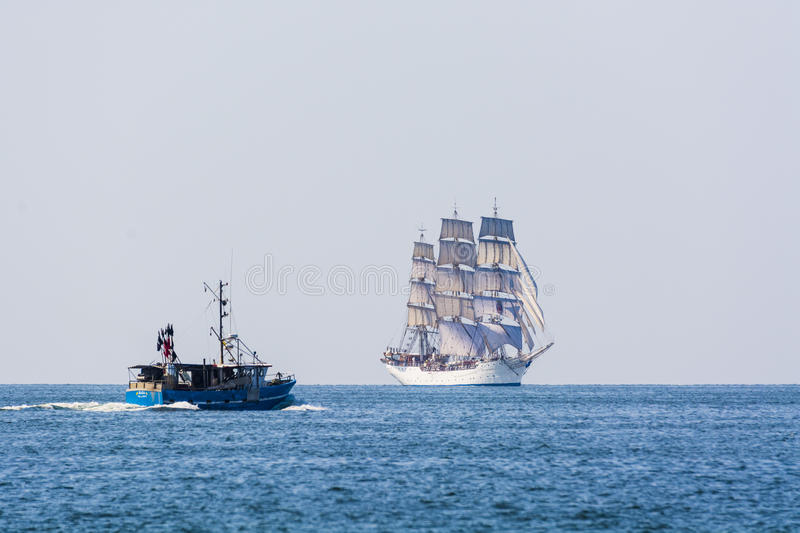 Download Fishingboat Meets Fullrigger Christian Radich Editorial Stock Photo - Image: 33084983