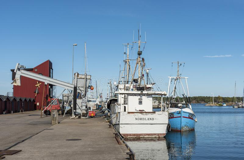 Fishingboats moored in Oxelosund Sweden royalty free stock images
