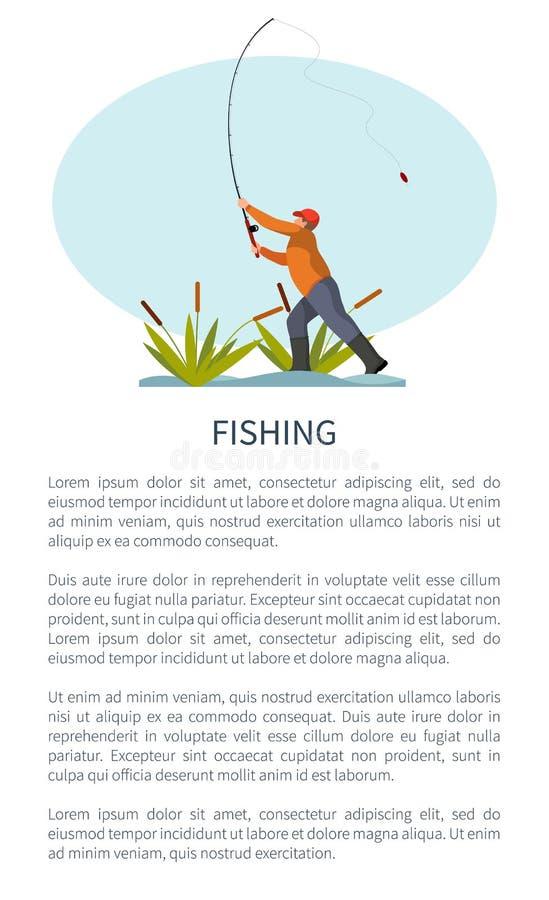 Fishman som står på flodstranden och kastar Stång royaltyfri illustrationer