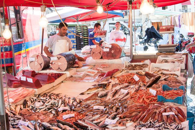 Fishmarket of Catania, Sicily, Italy. Fishmarket of Catania, called la Pescheria, is the most popular market of the city. Catania, is a city of Sicily, the big stock images