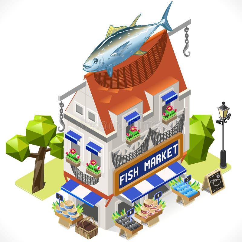 Fishmonger Sklepowy miasto Buduje 3D Isometric ilustracja wektor