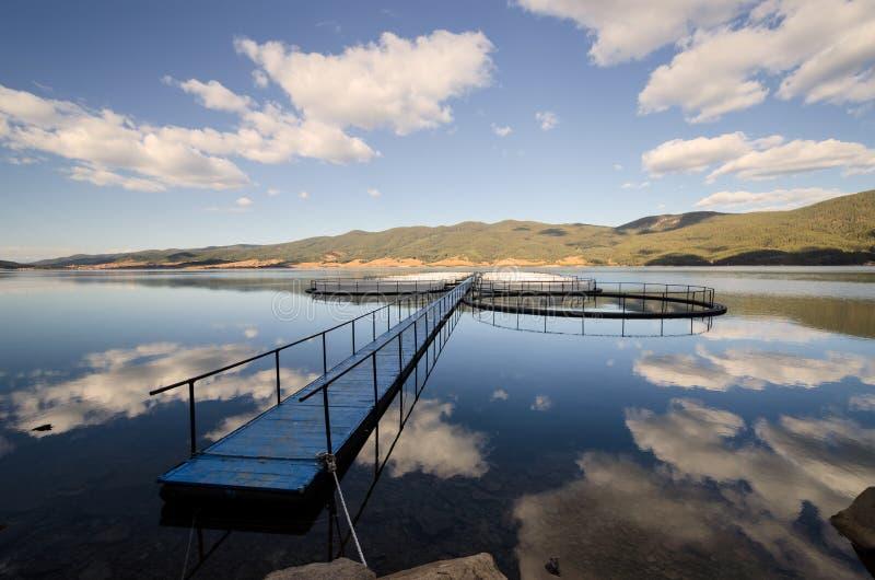 Fishpond en la presa Dospat foto de archivo libre de regalías