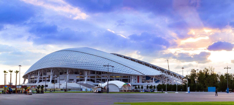 Fisht el estadio Olímpico en Sochi, Adler, Rusia imagen de archivo