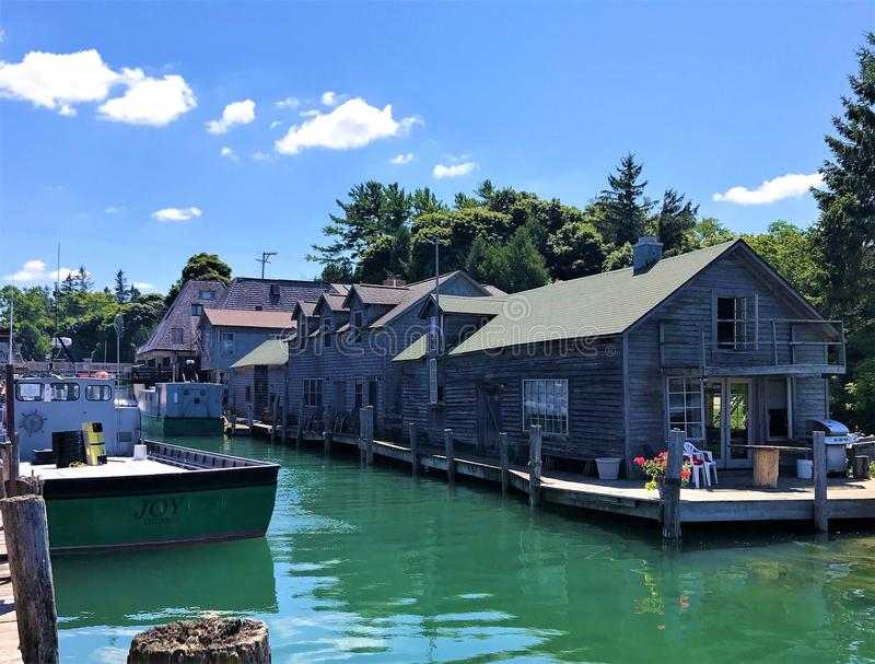 Fishtown Leland, Michigan arkivfoto