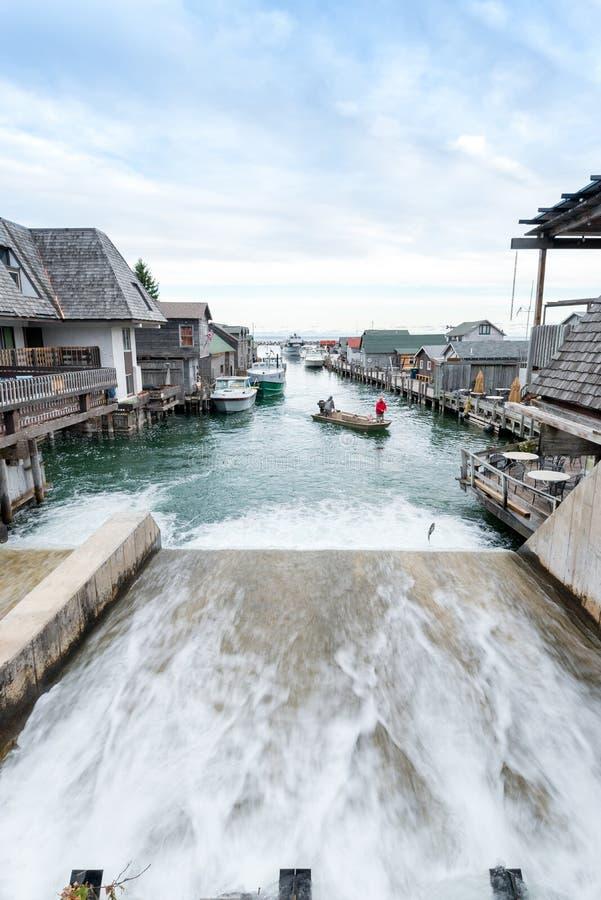 fishtownleland michigan royaltyfria foton