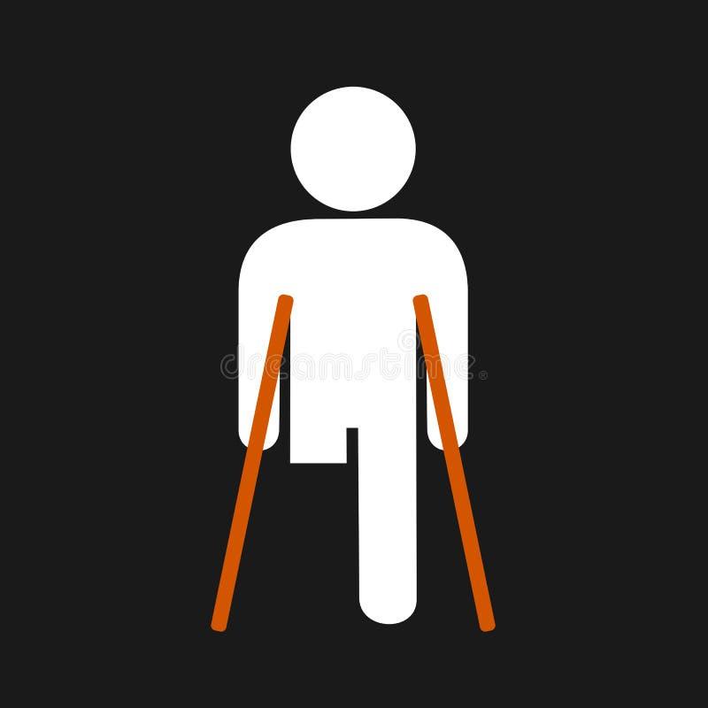 Fisicamente disabile con la gamba amputata illustrazione di stock