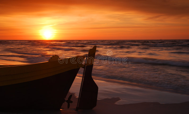 Download Fisihing Boat At The Sunset Stock Image - Image: 6908589