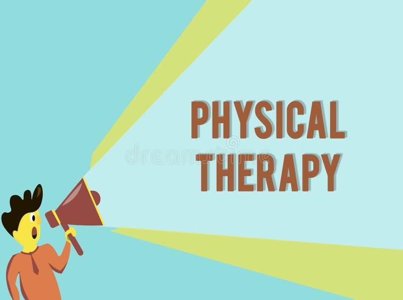 Fisioterapia do texto da escrita da palavra Conceito do negócio para o tratamento ou a fisioterapia analysisaging da inabilidade  ilustração royalty free