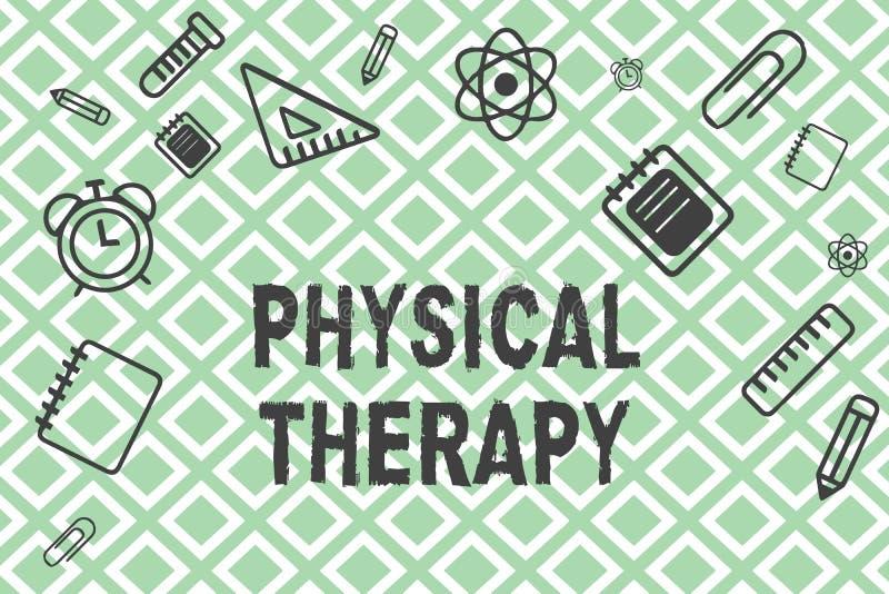 Fisioterapia do texto da escrita Tratamento do significado do conceito ou fisioterapia analysisaging da inabilidade física ilustração royalty free