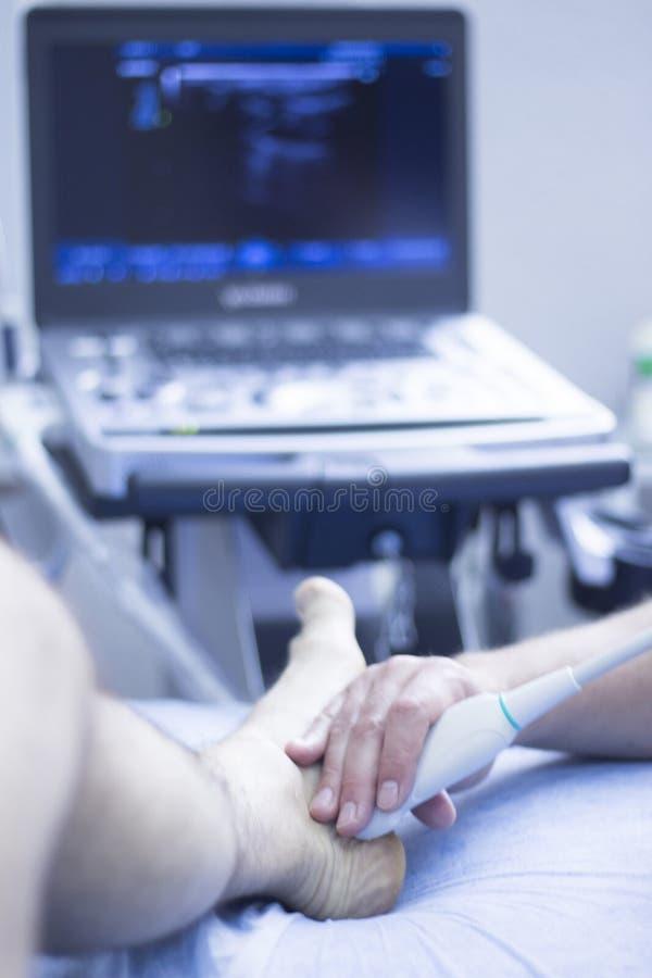 Fisioterapista di ecography EPI di ultrasuono immagine stock libera da diritti