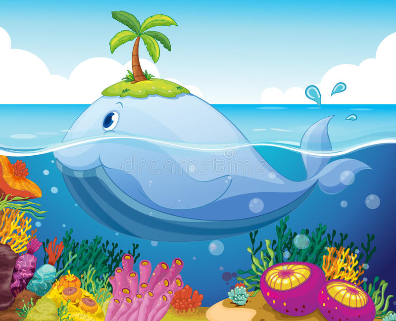 Fisk, ö och korall i havet vektor illustrationer