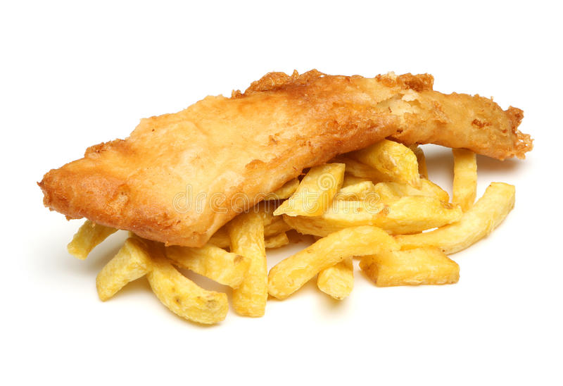 Fisk & Chips Isolated arkivfoto