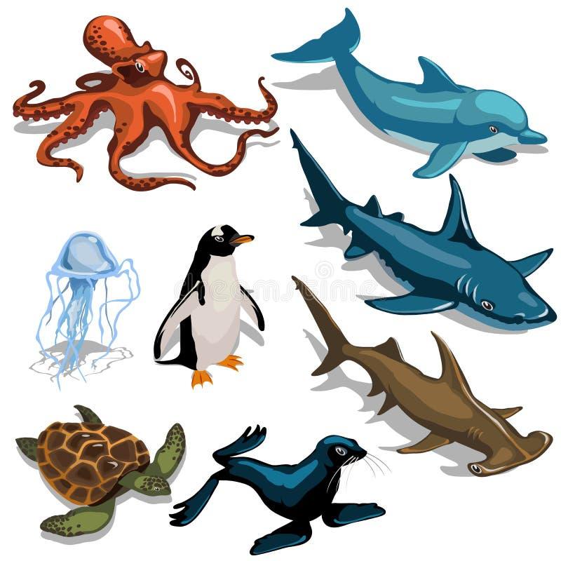Fisk, delfin, skyddsremsa och andra medlemmar av det djupa havet stock illustrationer