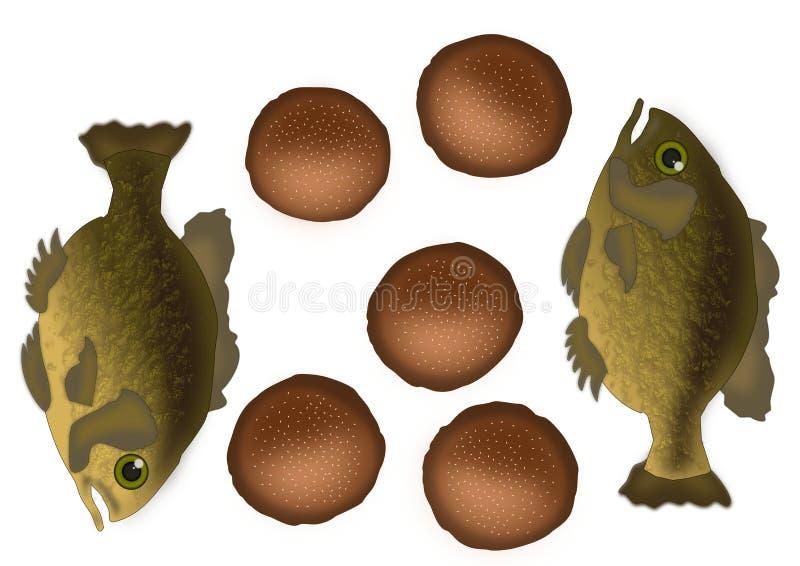 Fisk fem bröd och två vektor illustrationer