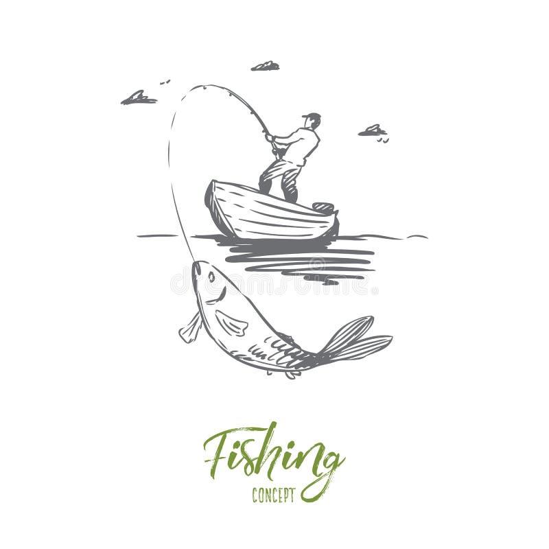 Fisk fiske, lås, fartygbegrepp Hand dragen isolerad vektor royaltyfri illustrationer