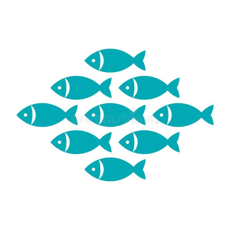 Fisk fisksymbol royaltyfri illustrationer