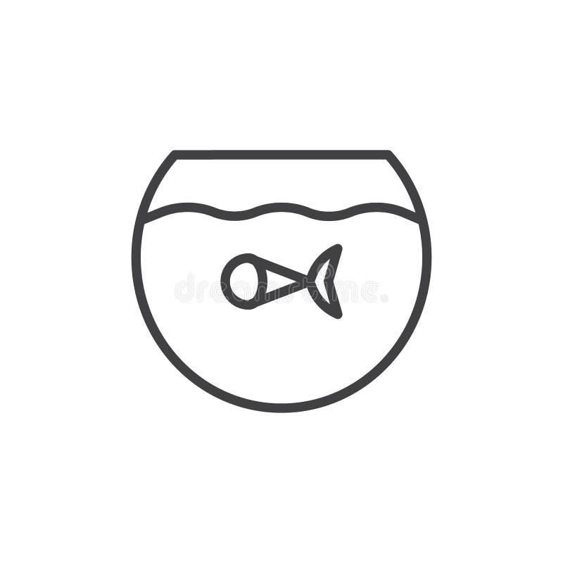 Fisk i akvariumlinjen symbol royaltyfri illustrationer
