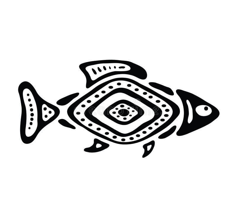 Fisk i den infödda stilen, vektorillustration vektor illustrationer