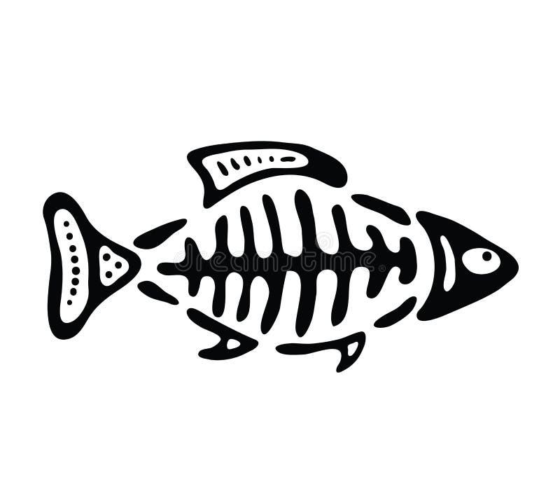 Fisk i den infödda stilen, vektorillustration stock illustrationer