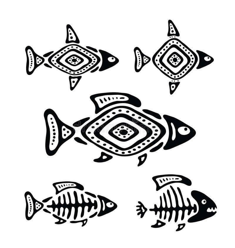 Fisk i den infödda stilen, vektorillustration royaltyfri illustrationer