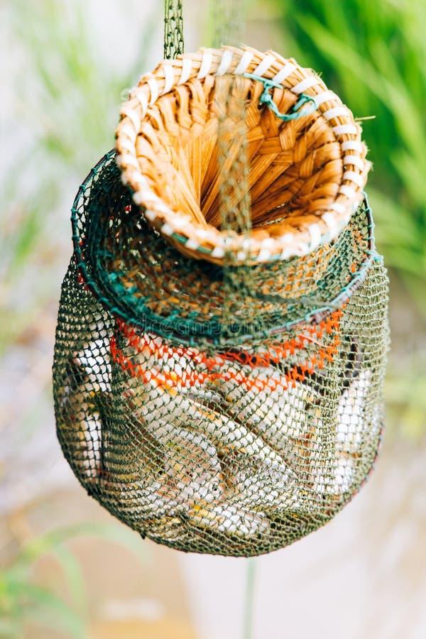 Fisk i den netto korgen arkivfoto