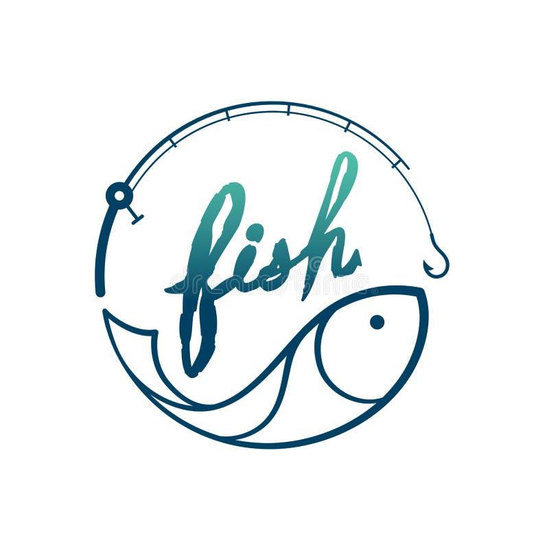 Fisk i form för metspöramcirkel, gräsplan för fastställd design för logosymbol och mörker - blå lutningfärgillustration vektor illustrationer