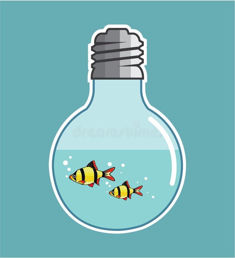 Fisk inom vektorillustrationen för ljus kula stock illustrationer