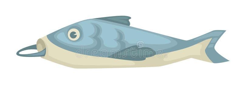 Fisk med kroken i mun isolerat undervattens- havsdjur royaltyfri illustrationer