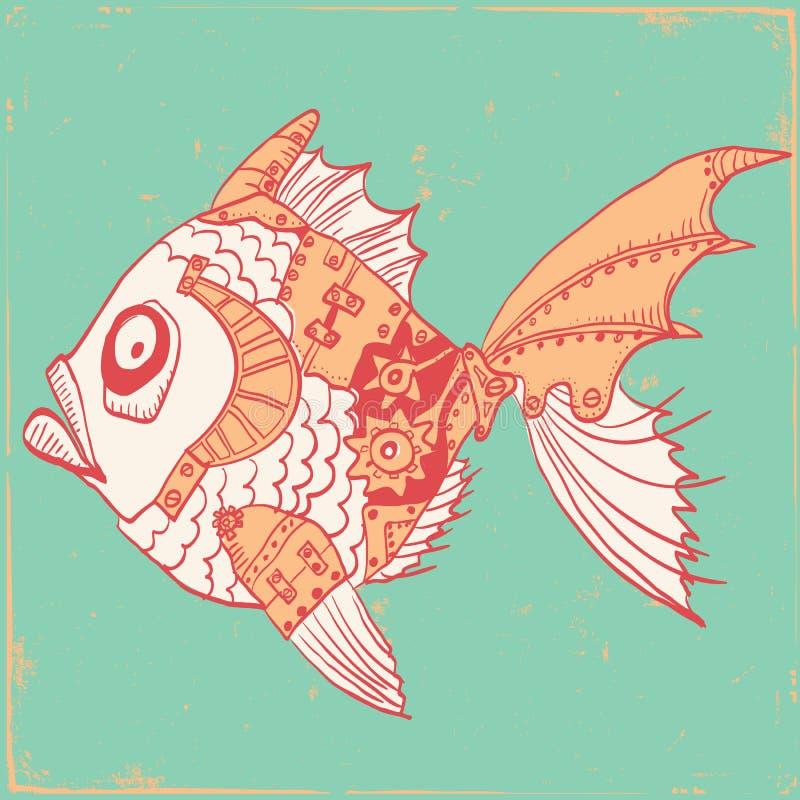 Fisk med mekaniska delar av kroppen Hand dragen steampunkillustr royaltyfri illustrationer