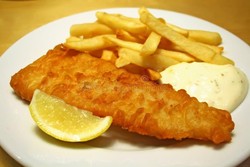Fisk och chiper arkivfoto