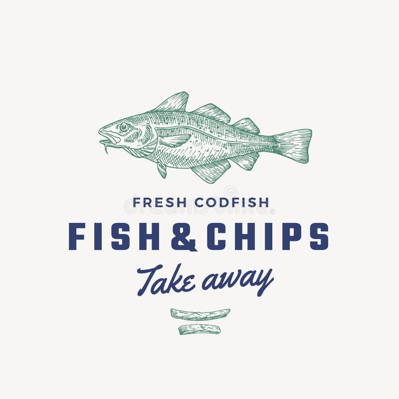 Fisk och Chips Abstract Vector Sign, symbol eller Logo Template Hand drog småfiskar för torskfisk och potatismed flott Retro royaltyfri illustrationer