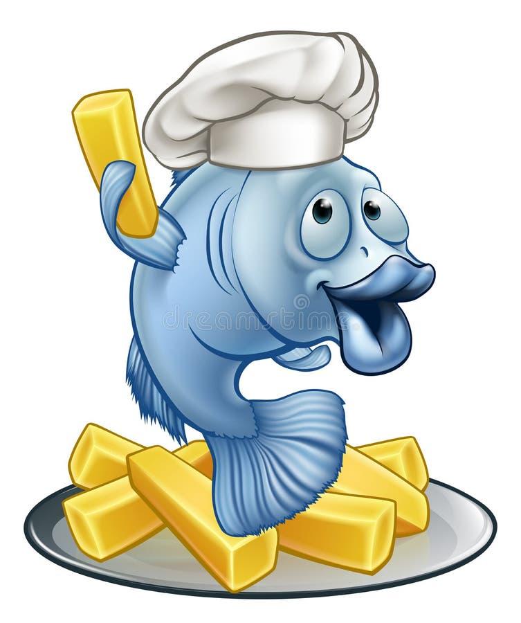 Fisk och Chips Chef Cartoon Character royaltyfri illustrationer