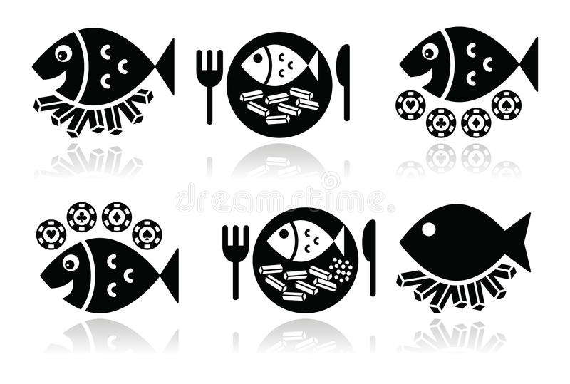 Fisk- och chipsymbolsuppsättning royaltyfri illustrationer