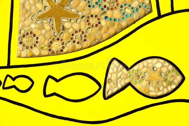 Fisk- och skalkonst vektor illustrationer